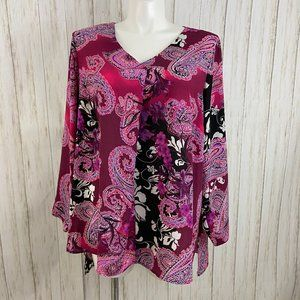 Chenault Pink Paisley Floral Blouse size 22/24 NEW